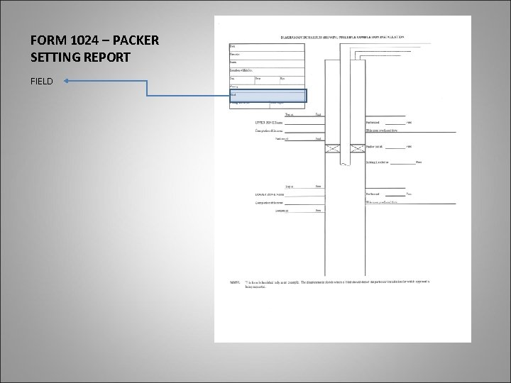 FORM 1024 – PACKER SETTING REPORT FIELD