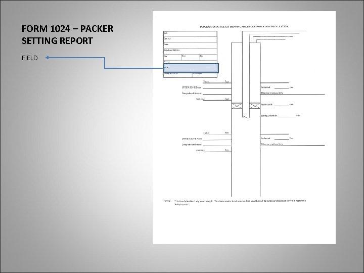 FORM 1024 – PACKER SETTING REPORT FIELD