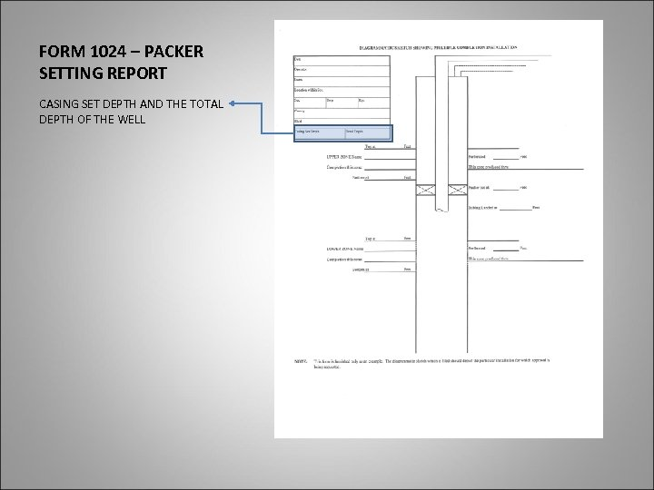 FORM 1024 – PACKER SETTING REPORT CASING SET DEPTH AND THE TOTAL DEPTH OF