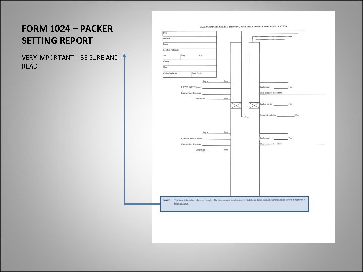 FORM 1024 – PACKER SETTING REPORT VERY IMPORTANT – BE SURE AND READ