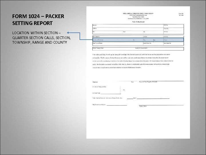 FORM 1024 – PACKER SETTING REPORT LOCATION WITHIN SECTION – QUARTER SECTION CALLS, SECTION,