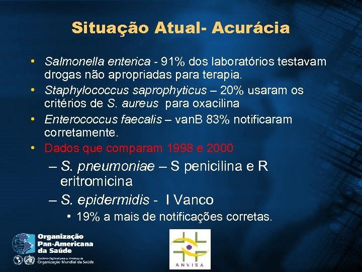 Situação Atual- Acurácia • Salmonella enterica - 91% dos laboratórios testavam drogas não apropriadas