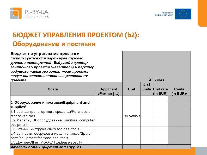БЮДЖЕТ УПРАВЛЕНИЯ ПРОЕКТОМ (b 2): Оборудование и поставки Бюджет на управление проектом (используется для