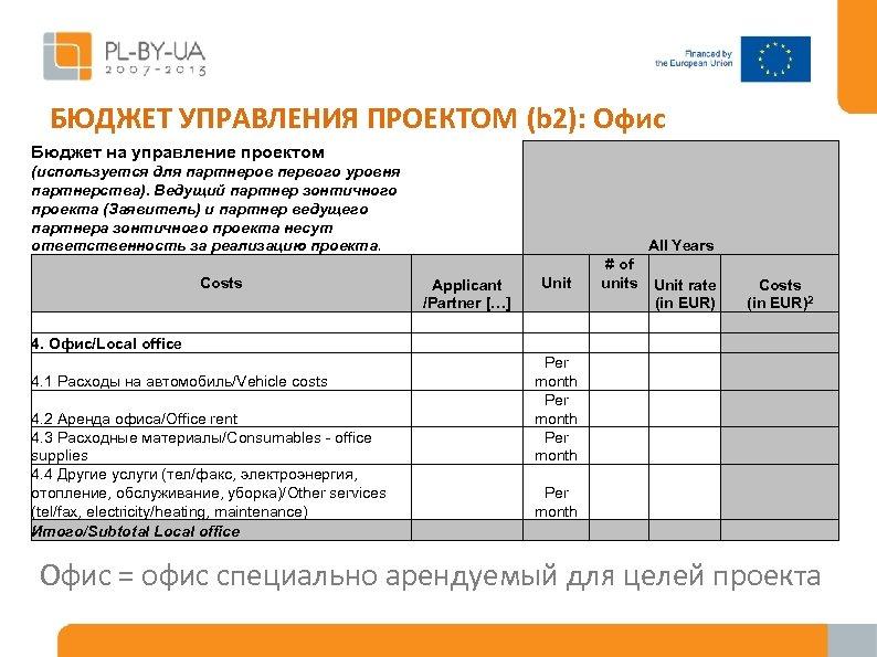 БЮДЖЕТ УПРАВЛЕНИЯ ПРОЕКТОМ (b 2): Офис Бюджет на управление проектом (используется для партнеров первого