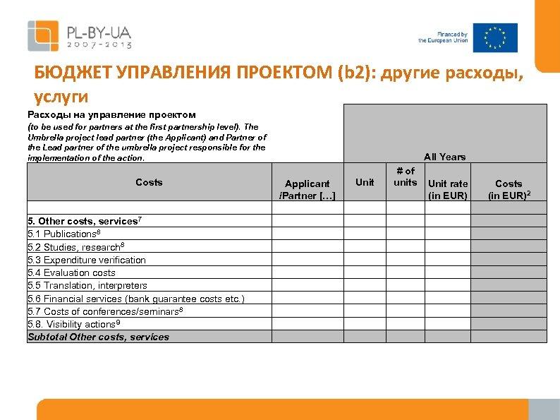 БЮДЖЕТ УПРАВЛЕНИЯ ПРОЕКТОМ (b 2): другие расходы, услуги Расходы на управление проектом (to be