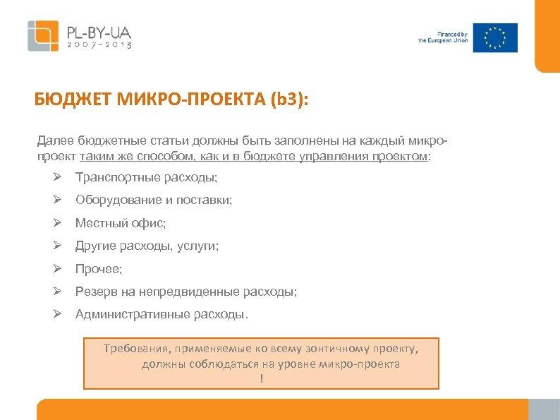 БЮДЖЕТ МИКРО-ПРОЕКТА (b 3): Далее бюджетные статьи должны быть заполнены на каждый микропроект таким