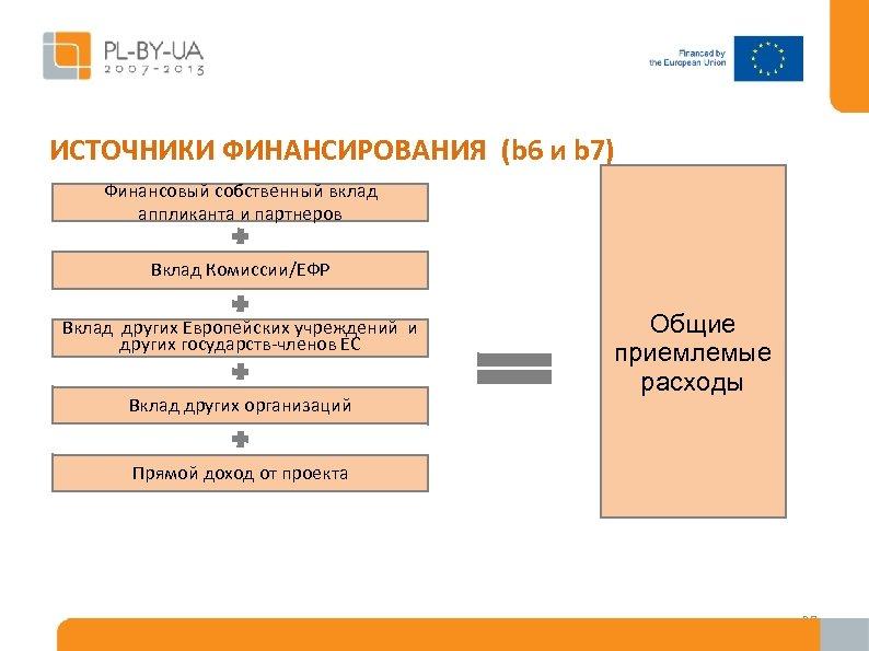 ИСТОЧНИКИ ФИНАНСИРОВАНИЯ (b 6 и b 7) Финансовый собственный вклад аппликанта и партнеров Вклад