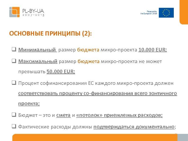 ОСНОВНЫЕ ПРИНЦИПЫ (2): q Минимальный размер бюджета микро-проекта 10. 000 EUR; q Максимальный размер