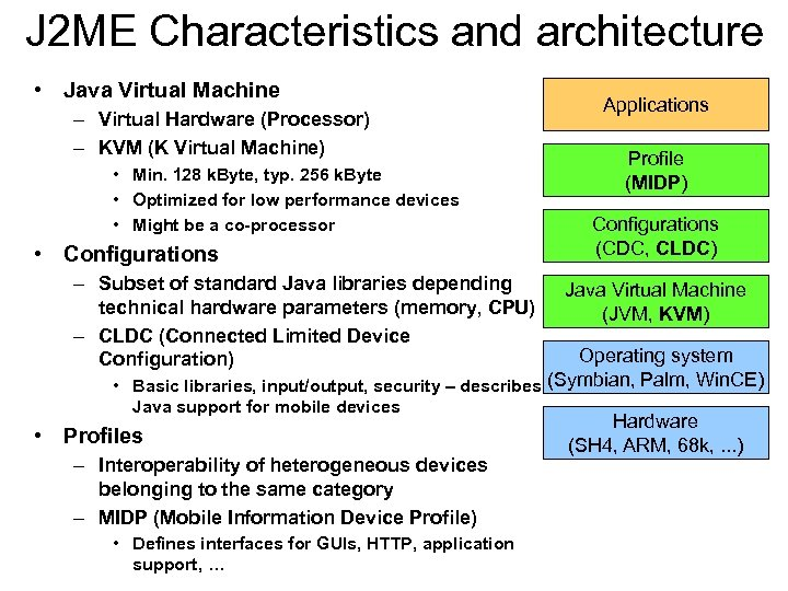J 2 ME Characteristics and architecture • Java Virtual Machine – Virtual Hardware (Processor)