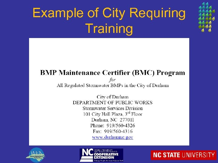 Example of City Requiring Training