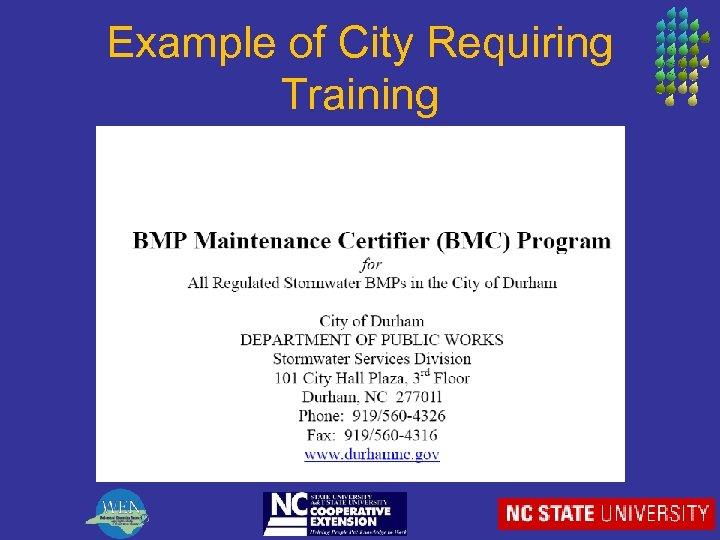 Example of City Requiring Training