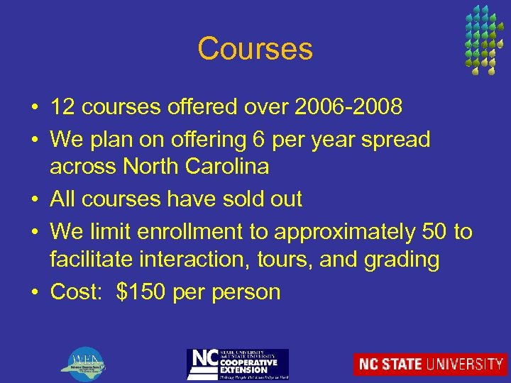 Courses • 12 courses offered over 2006 -2008 • We plan on offering 6