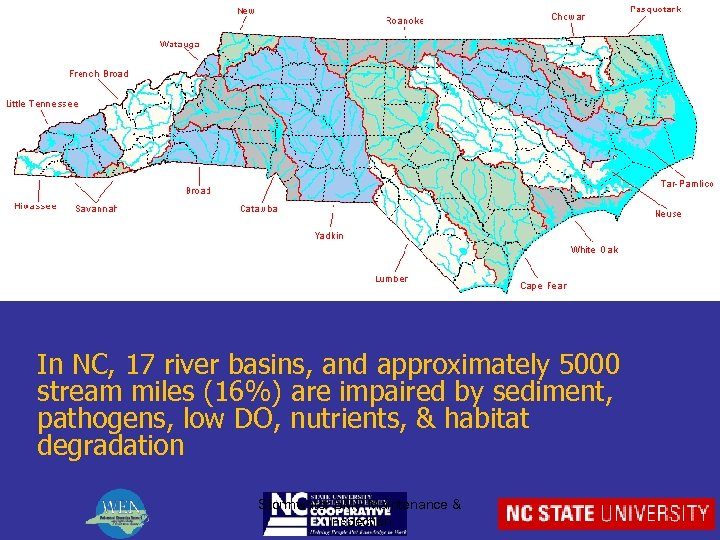 In NC, 17 river basins, and approximately 5000 stream miles (16%) are impaired by