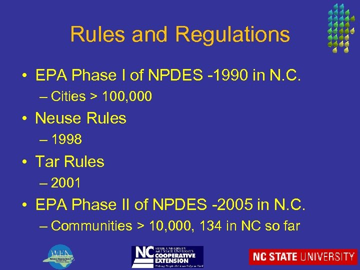 Rules and Regulations • EPA Phase I of NPDES -1990 in N. C. –