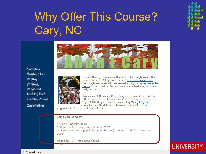 Why Offer This Course? Cary, NC