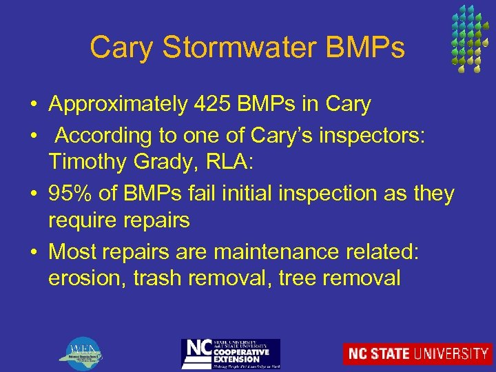 Cary Stormwater BMPs • Approximately 425 BMPs in Cary • According to one of