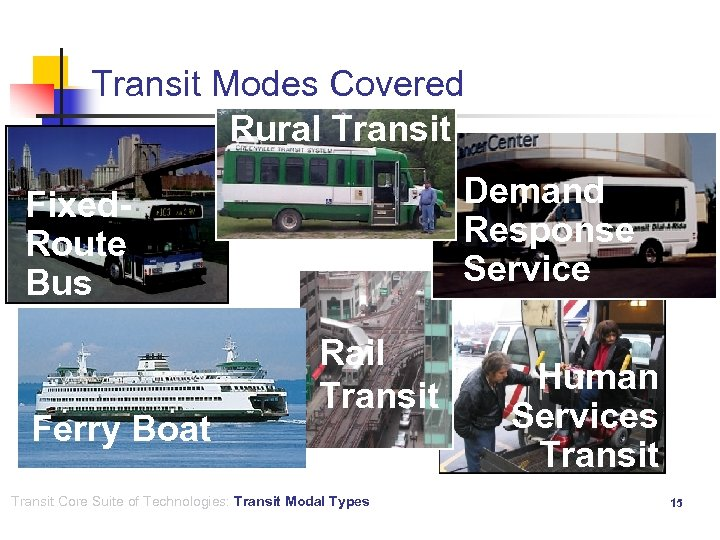 Transit Modes Covered Rural Transit Demand Response Service Fixed- Route Bus Ferry Boat Rail