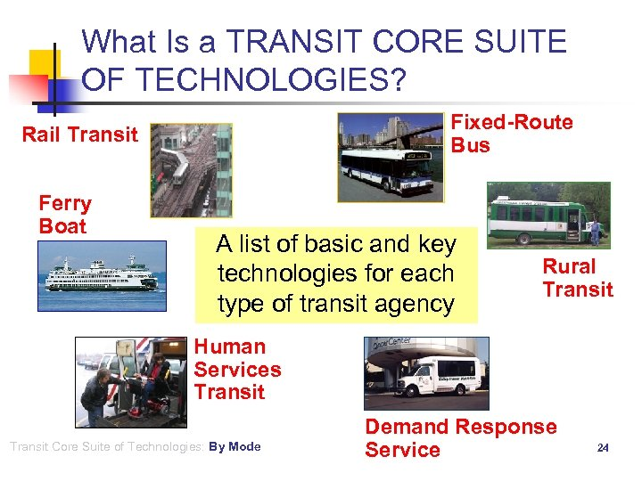 What Is a TRANSIT CORE SUITE OF TECHNOLOGIES? Fixed-Route Bus Rail Transit Ferry Boat