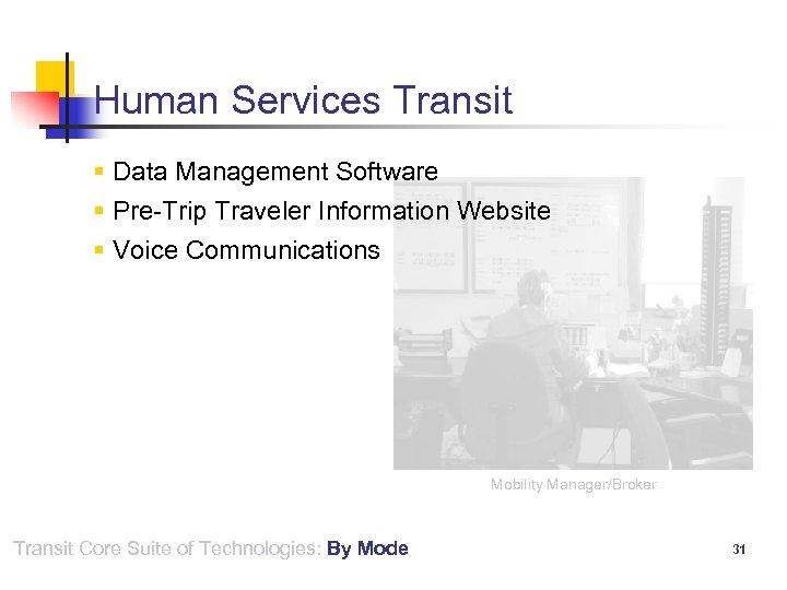 Human Services Transit § Data Management Software § Pre-Trip Traveler Information Website § Voice