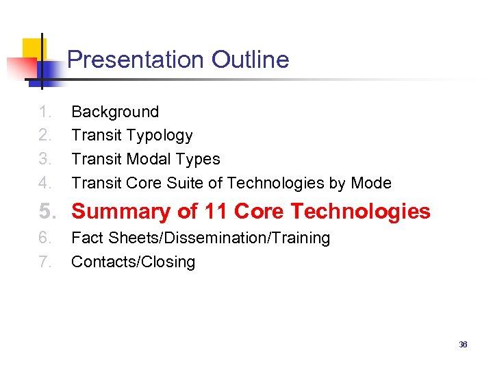 Presentation Outline 1. 2. 3. 4. Background Transit Typology Transit Modal Types Transit Core