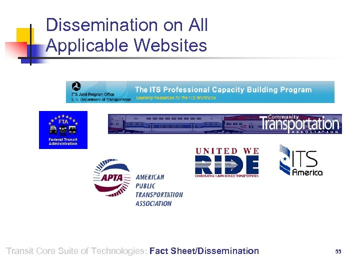 Dissemination on All Applicable Websites Transit Core Suite of Technologies: Fact Sheet/Dissemination 55