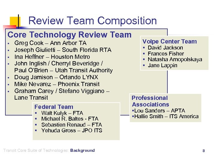 Review Team Composition Core Technology Review Team § § § § Greg Cook –