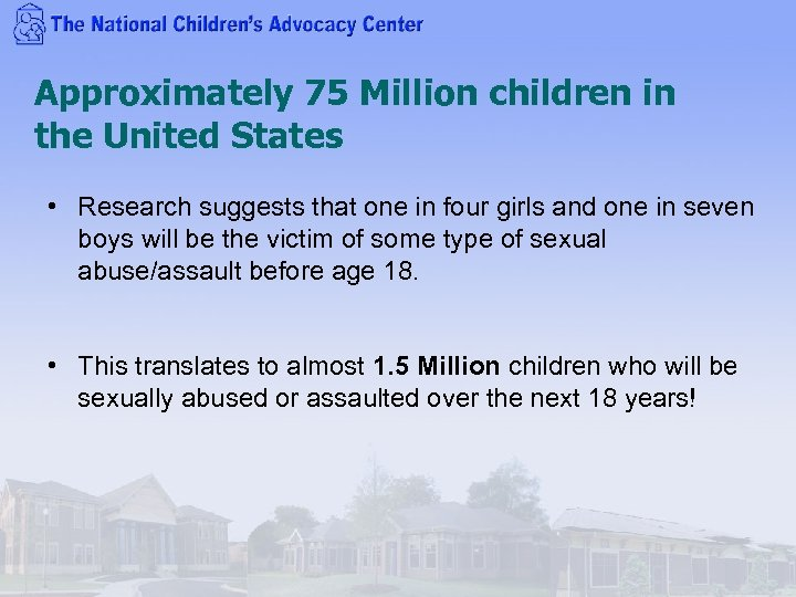 Approximately 75 Million children in the United States • Research suggests that one in