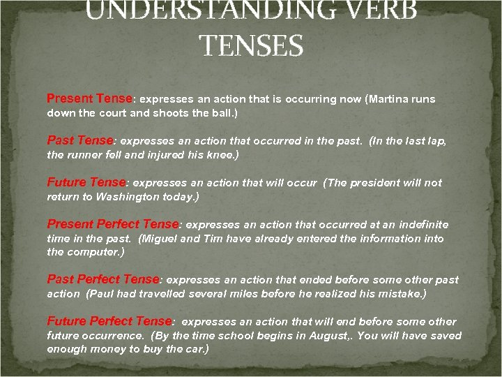 UNDERSTANDING VERB TENSES Present Tense: expresses an action that is occurring now (Martina runs