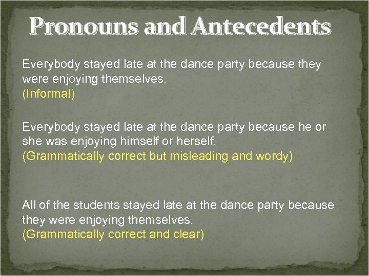 Pronouns and Antecedents Everybody stayed late at the dance party because they were enjoying