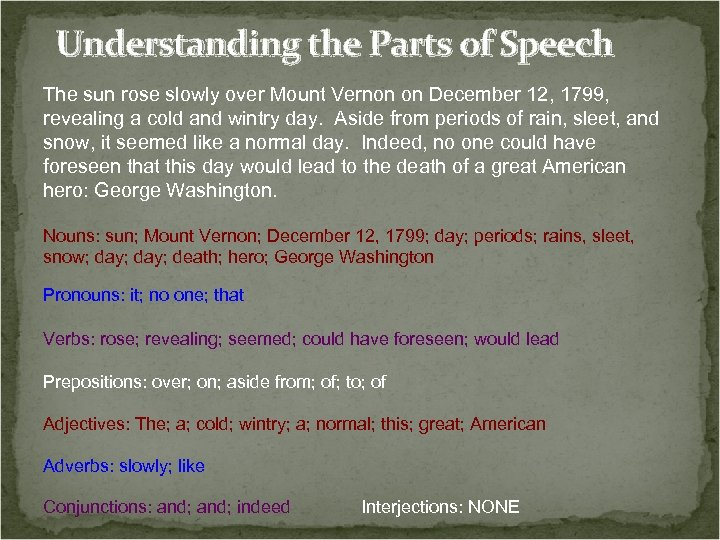 Understanding the Parts of Speech The sun rose slowly over Mount Vernon on December