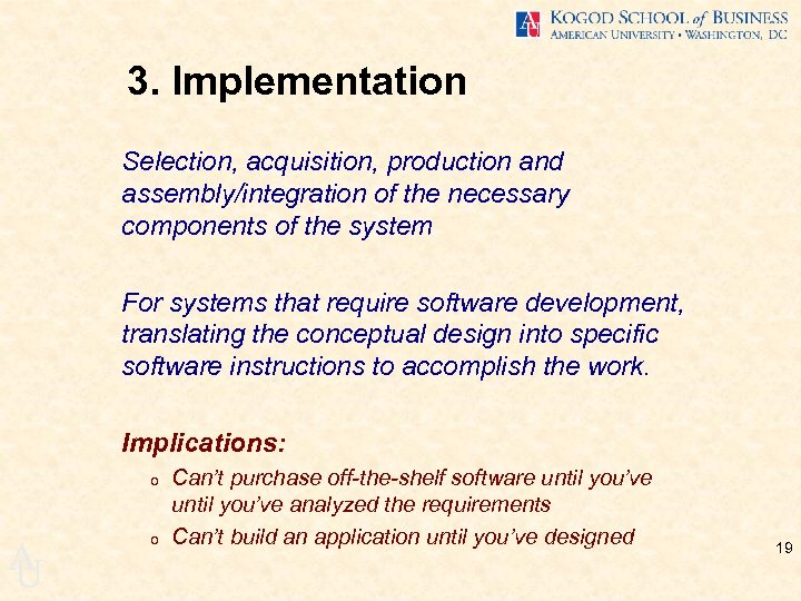 3. Implementation Selection, acquisition, production and assembly/integration of the necessary components of the system
