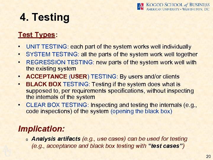 4. Testing Test Types: • UNIT TESTING: each part of the system works well
