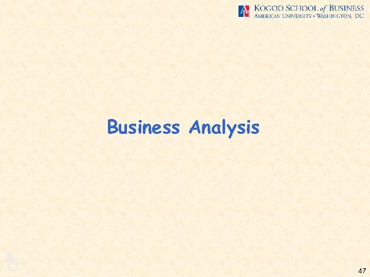 Business Analysis A U 47