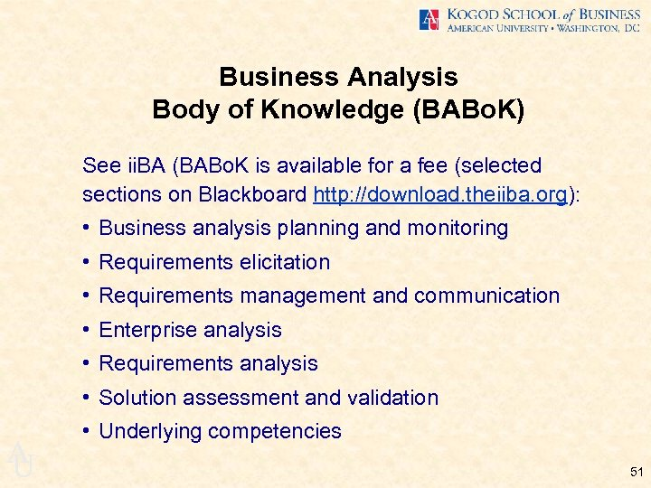 Business Analysis Body of Knowledge (BABo. K) See ii. BA (BABo. K is available