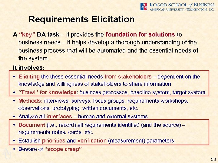 "Requirements Elicitation A ""key"" BA task – it provides the foundation for solutions to"