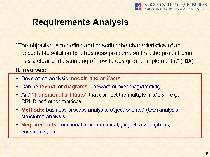 "Requirements Analysis ""The objective is to define and describe the characteristics of an acceptable"