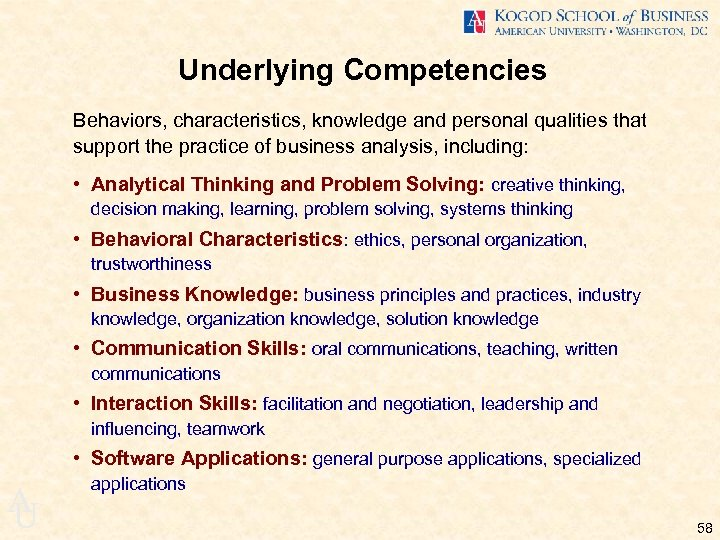 Underlying Competencies Behaviors, characteristics, knowledge and personal qualities that support the practice of business
