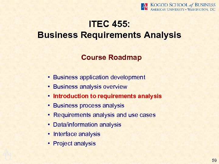 ITEC 455: Business Requirements Analysis Course Roadmap • Business application development • Business analysis