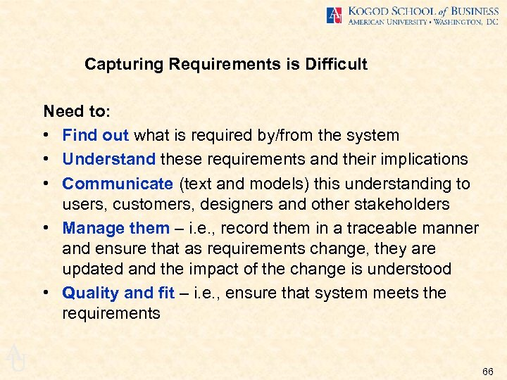 Capturing Requirements is Difficult Need to: • Find out what is required by/from the