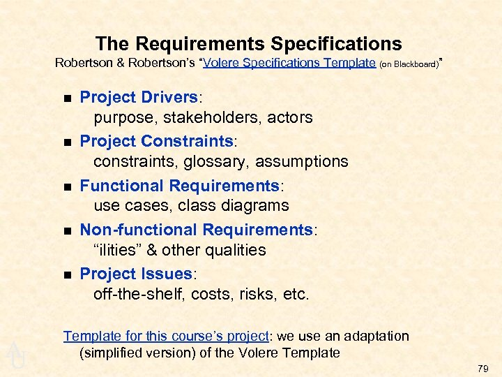 "The Requirements Specifications Robertson & Robertson's ""Volere Specifications Template (on Blackboard)"" n n n"