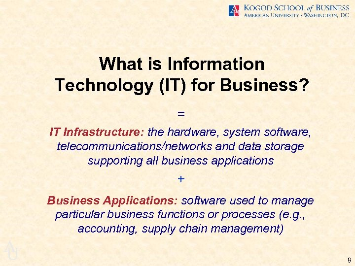 What is Information Technology (IT) for Business? = IT Infrastructure: the hardware, system software,