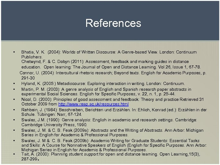 References • • • Bhatia, V. K. (2004): Worlds of Written Discourse: A Genre-based