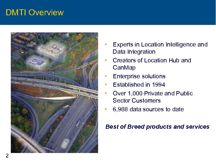 DMTI Overview • Experts in Location Intelligence and Data Integration • Creators of Location