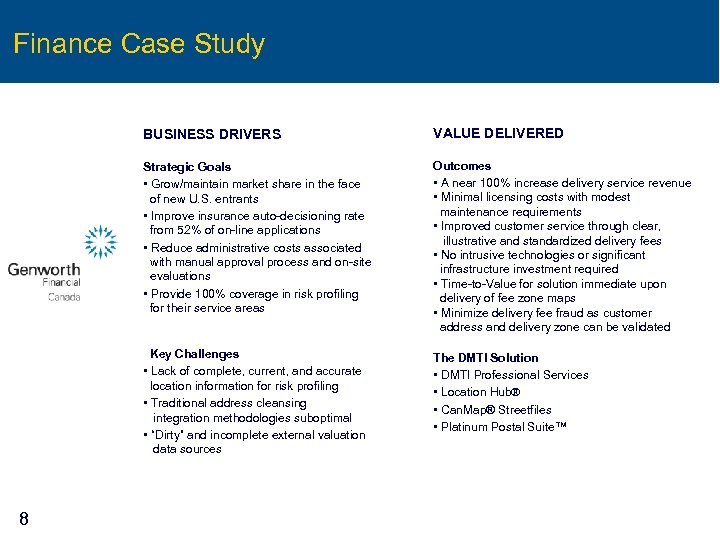 Finance Case Study BUSINESS DRIVERS Strategic Goals • Grow/maintain market share in the face