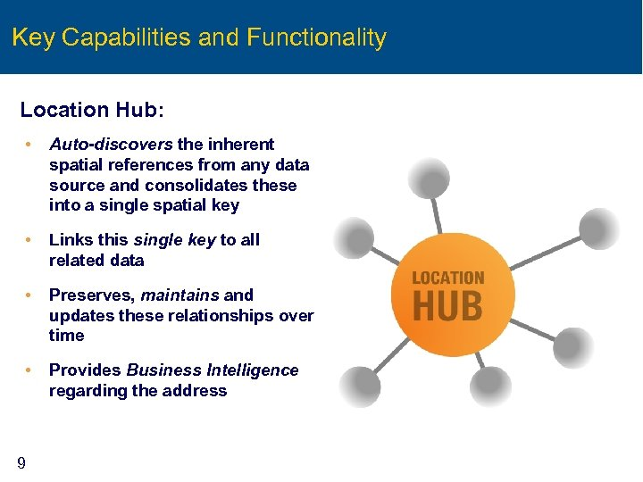 Key Capabilities and Functionality Location Hub: • Auto-discovers the inherent spatial references from any