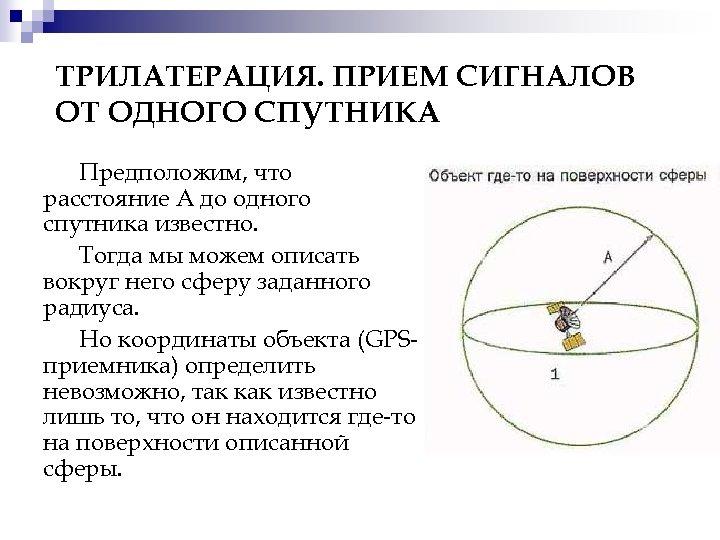 ТРИЛАТЕРАЦИЯ. ПРИЕМ СИГНАЛОВ ОТ ОДНОГО СПУТНИКА Предположим, что расстояние А до одного спутника известно.