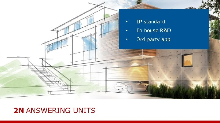 • • In house R&D • 2 N ANSWERING UNITS IP standard 3