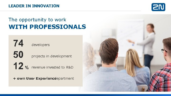 LEADER IN INNOVATION The opportunity to work WITH PROFESSIONALS 74 50 12 % developers