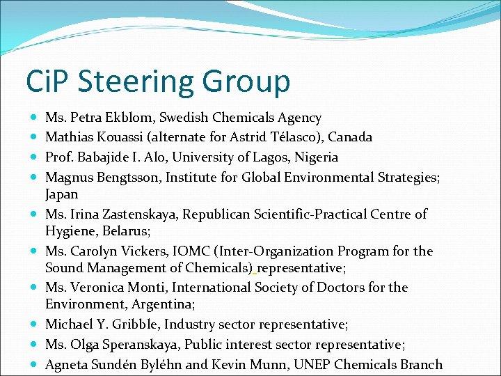 Ci. P Steering Group Ms. Petra Ekblom, Swedish Chemicals Agency Mathias Kouassi (alternate for