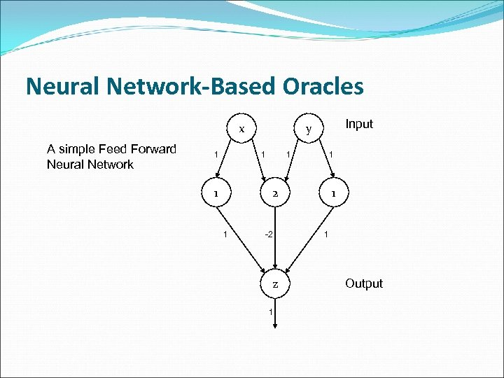 Neural Network-Based Oracles x A simple Feed Forward Neural Network 1 1 1 Input